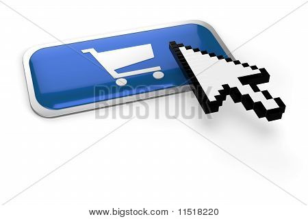 Pixelated Mouse  Pointer On Shopping Cart