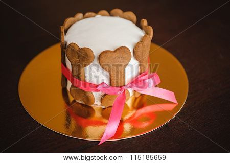 Dog Birthday Cake  Decorated With Bone Cookies