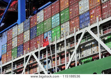 Container Ship At The Port Of Hamburg (hamburger Hafen),germany.