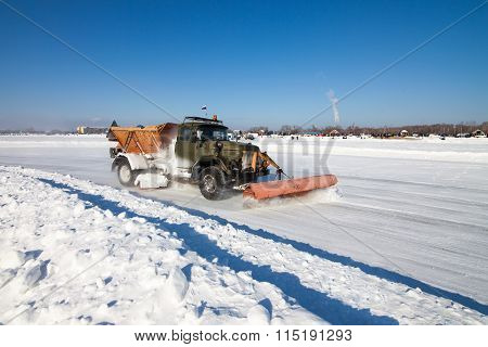 Khabarovsk, Russia - January 17, 2016: Old Snowplow Is Cleaning Track For The Ice Race