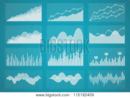 Graphs and charts vector set