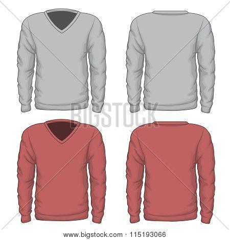 Casual mens v-neck sweatshirt vector