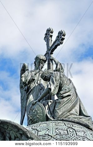 Sculptures At The Top Of The Monument Millennium Of Russia In Veliky Novgorod, Russia