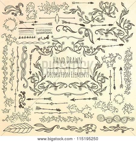 Hand drawn decoration elements.