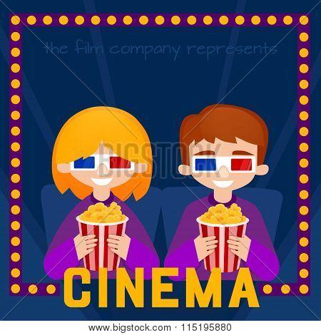 Moviegoers  vector illustration