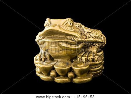 Chinese Feng Shui Frog with coins, symbol for abundance and luck isolated on black