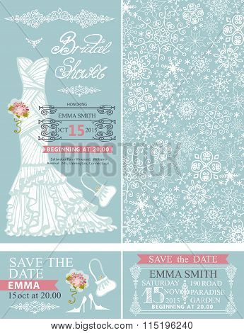 Bridal shower invitations.Winter wedding.Dress,pattern