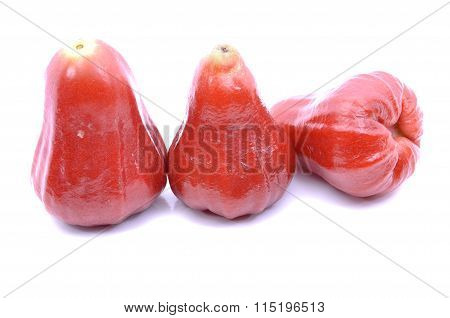 Rose Apples Over White Background