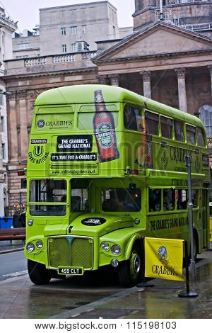 Liverpool 6Th December 2015. Sponsors Bus On The Streets Of Liverpool Promoting The 2016 Aintree Gra