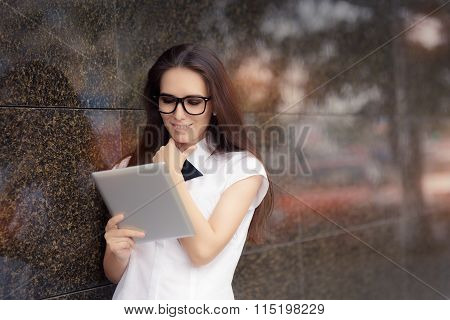 Elegant Woman Wearing Glasses with PC Tablet