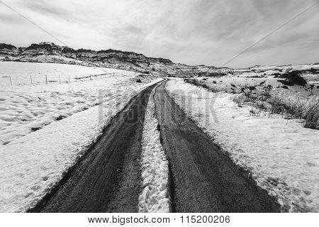 Mountain Snow Dirt Road Tracks