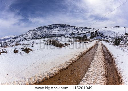 Mountains Snow Dirt Road Tracks