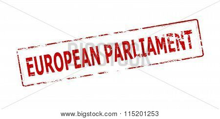 Rubber stamp with text European parliament inside vector illustration
