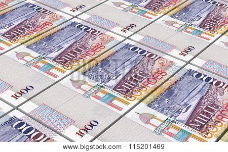 Haitian gourde bills stacked background. Computer generated 3D photo rendering.