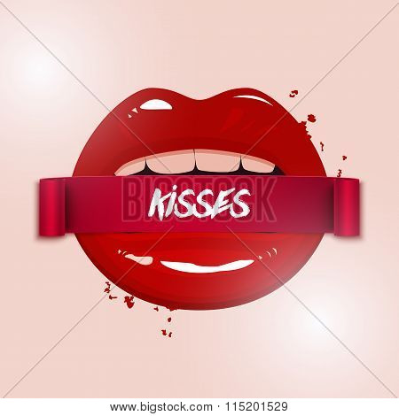 Happy Valentine's Day Vector Illustration, Red Seductive Lips Holding A Ribbon Banner On Light Backg