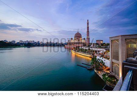 Beautiful View Of Putra Mosque During Sunset In Putrajaya