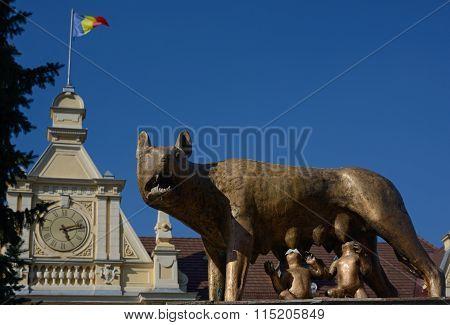 Feeding She-wolf Monument In Brasov