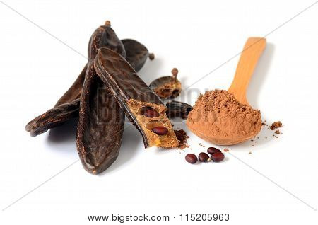 Ripe carob pods and carob powder can be used as a substitute for cocoa poster
