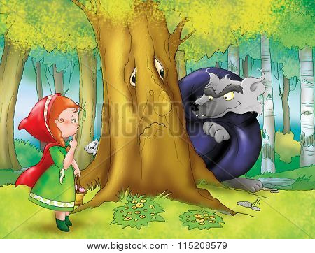 Red riding hood and big wolf