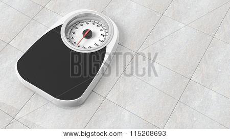 Bathroom scale in kilograms, on bathroom floor
