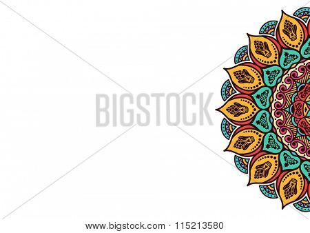 Business card template - mandala. Vintage decorative elements. Hand drawn background. Islam, Arabic, Indian, ottoman motifs - Raster Copy