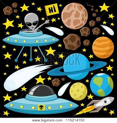 Alien, planet, comets, asteroids and stars