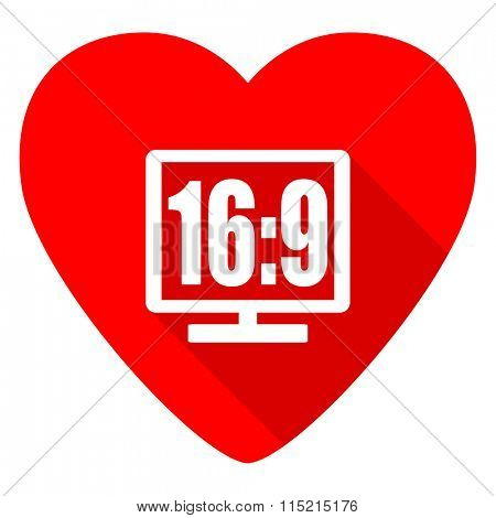 16 9 display red heart valentine flat icon