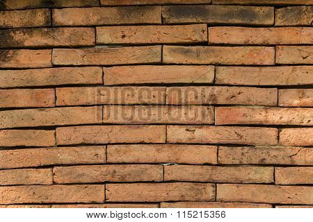 Closeup Of The Weathered Red Brick Wall