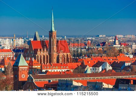 Aerial view of Wroclaw in the morning