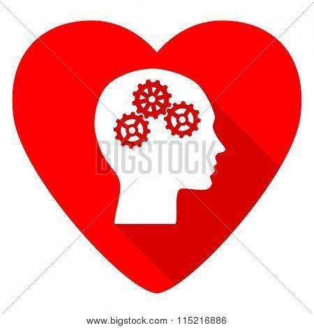 head red heart valentine flat icon