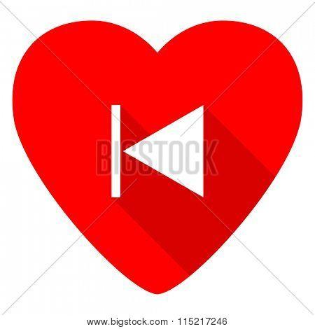 prev red heart valentine flat icon