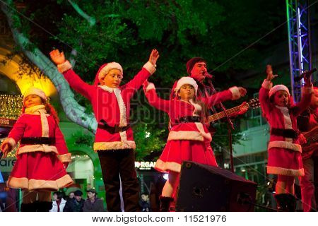 Children Sing Christmas Songs On A Public Appearance