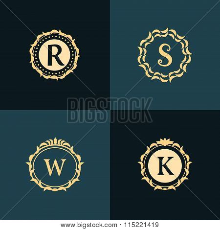 Monogram Design Elements, Graceful Template. Elegant Line Art Logo Design. Emblem Letter R, S, W, K.