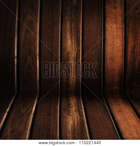 Conner of grunge  old wooden wall room