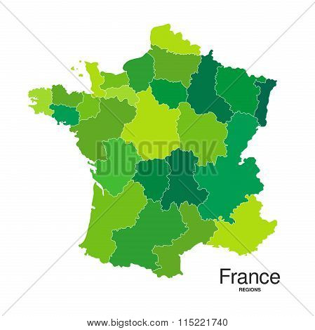 Regions Map Of France In Green