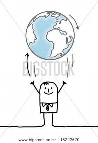 cartoon businessman throwing up the Earth