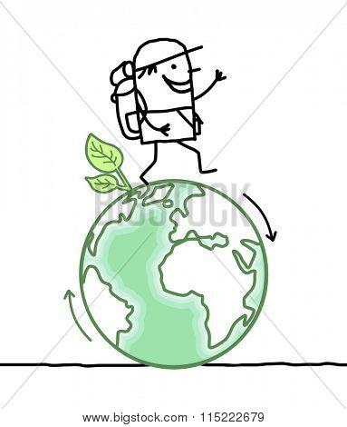 cartoon man walking around the Earth