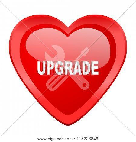 upgrade red heart valentine glossy web icon