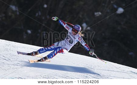 GARMISCH PARTENKIRCHEN, GERMANY - MARCH 03 2013: The Audi FIS Ski World Cup Super-G race on the Kandahar course in Garmisch Partenkirchen, Germany.