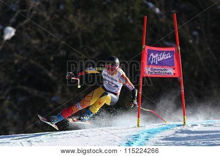 GARMISCH PARTENKIRCHEN, GERMANY - MARCH 03 2013: The Audi FIS Ski World Cup Super-G race on the Kandahar course in Garmisch Partenkirchen, Germany.