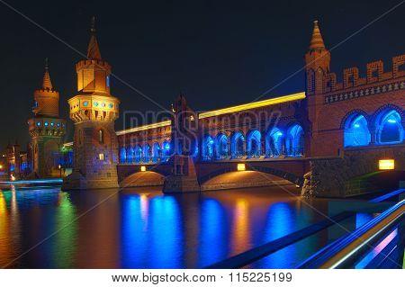 view at Oberbaumbruecke in Berlin at night