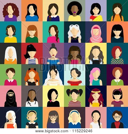 People icons set in flat style with faces of women ang girls
