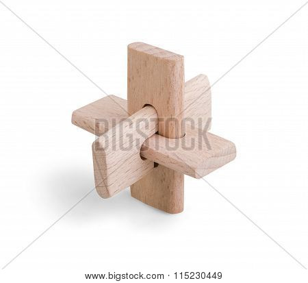 Wooden Brain Puzzle Game Isolated On White With Clipping Path