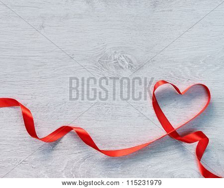 Happy Valentines Day. Red Ribbon Heart