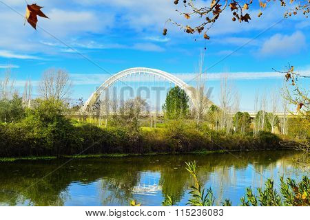 MERIDA, SPAIN - JANUARY 1: A view of the Guadiana River and the Lusitania bridge in Merida, Spain, on January 1, 2016. This bridge was designed by the famous Spanish architect Santiago Calatrava