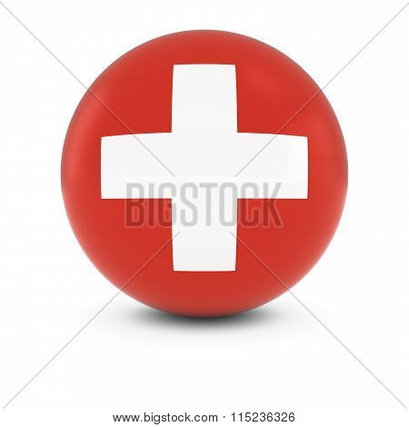 Swiss Flag Ball - Flag Of Switzerland On Isolated Sphere
