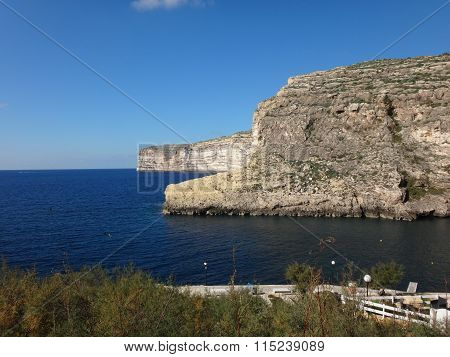 Large cliffs and sea