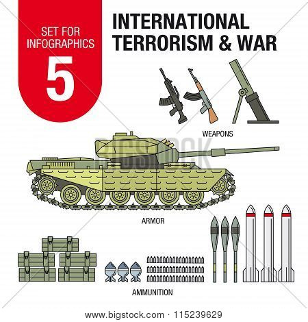 Set for infographics   international terrorism and war. Ammunition and weapons.