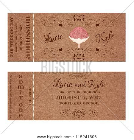 Ticket for Wedding Invitation with bouquet