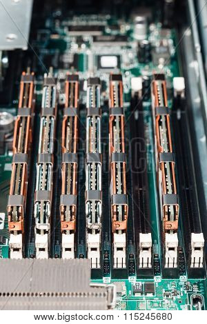 memory module in system board, closeup